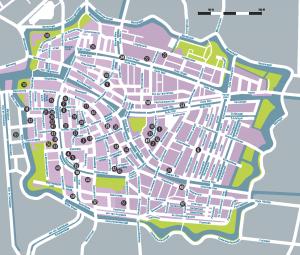 Afbeelding kaart Sporen van de slavernij in Leiden